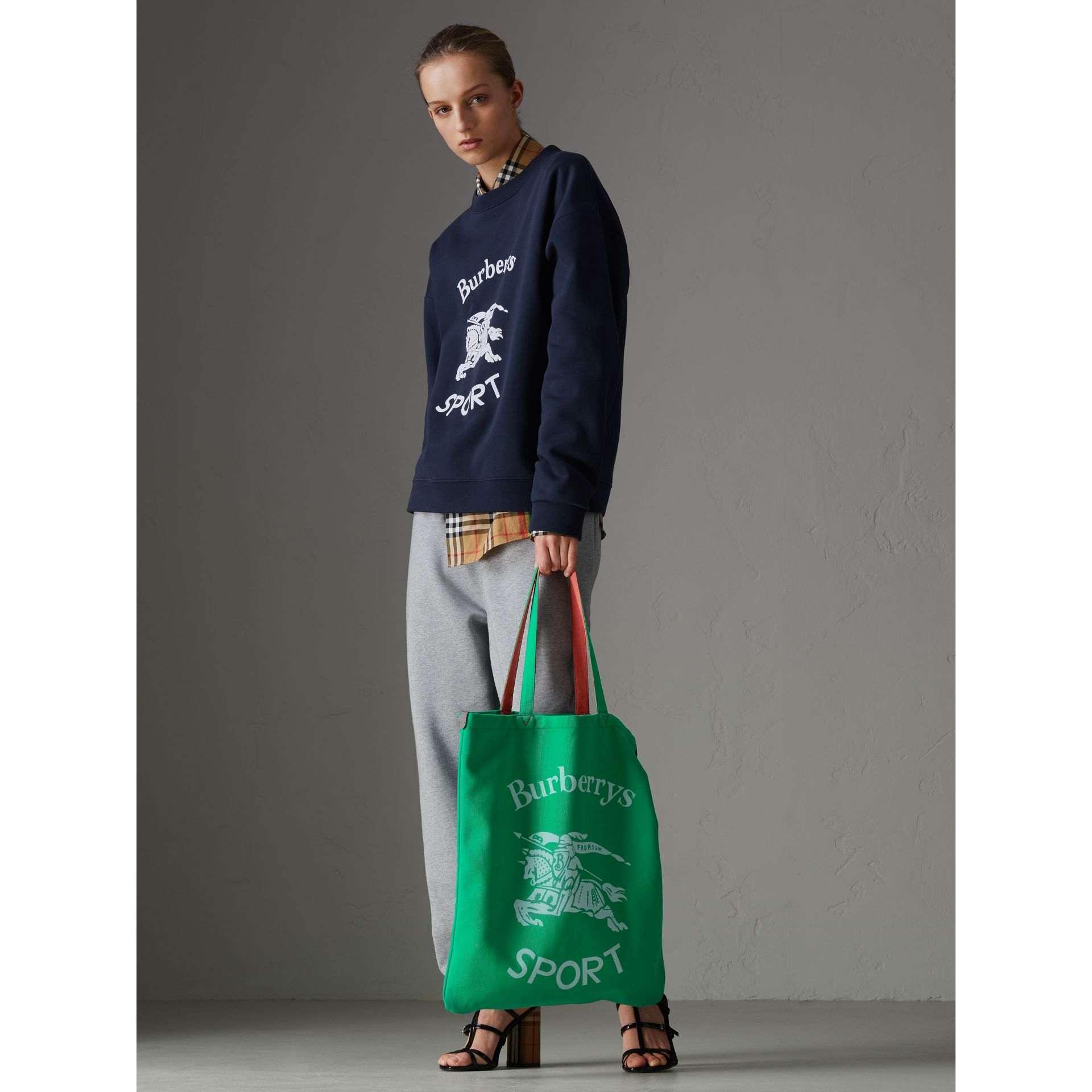 Large Archive Logo Jersey Shopper in Bright Green | Burberry - gallery image 2
