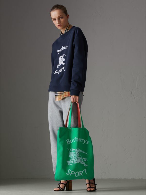 Large Archive Logo Jersey Shopper in Bright Green | Burberry - cell image 2