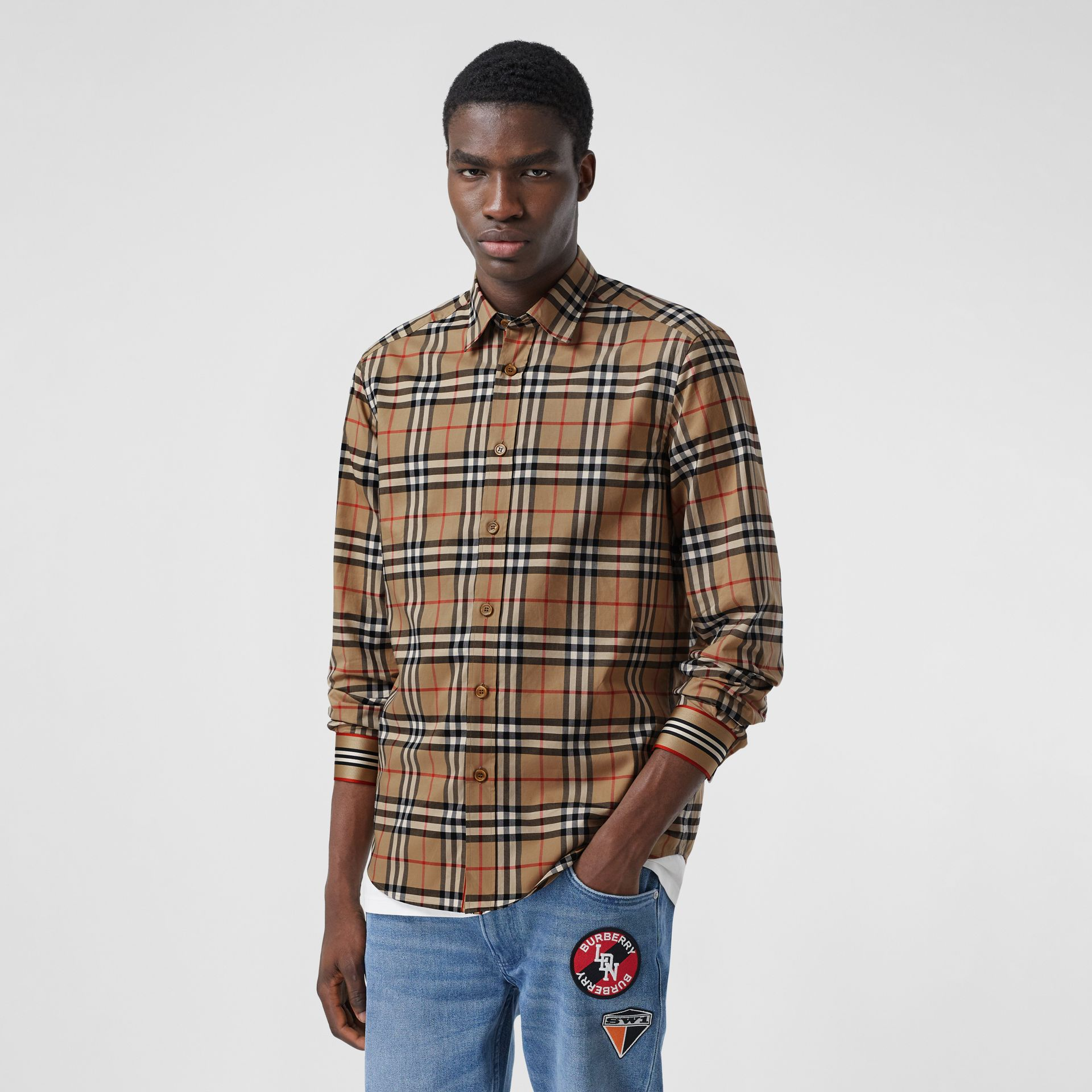 Icon Stripe Cuff Vintage Check Cotton Shirt in Archive Beige - Men | Burberry - gallery image 5