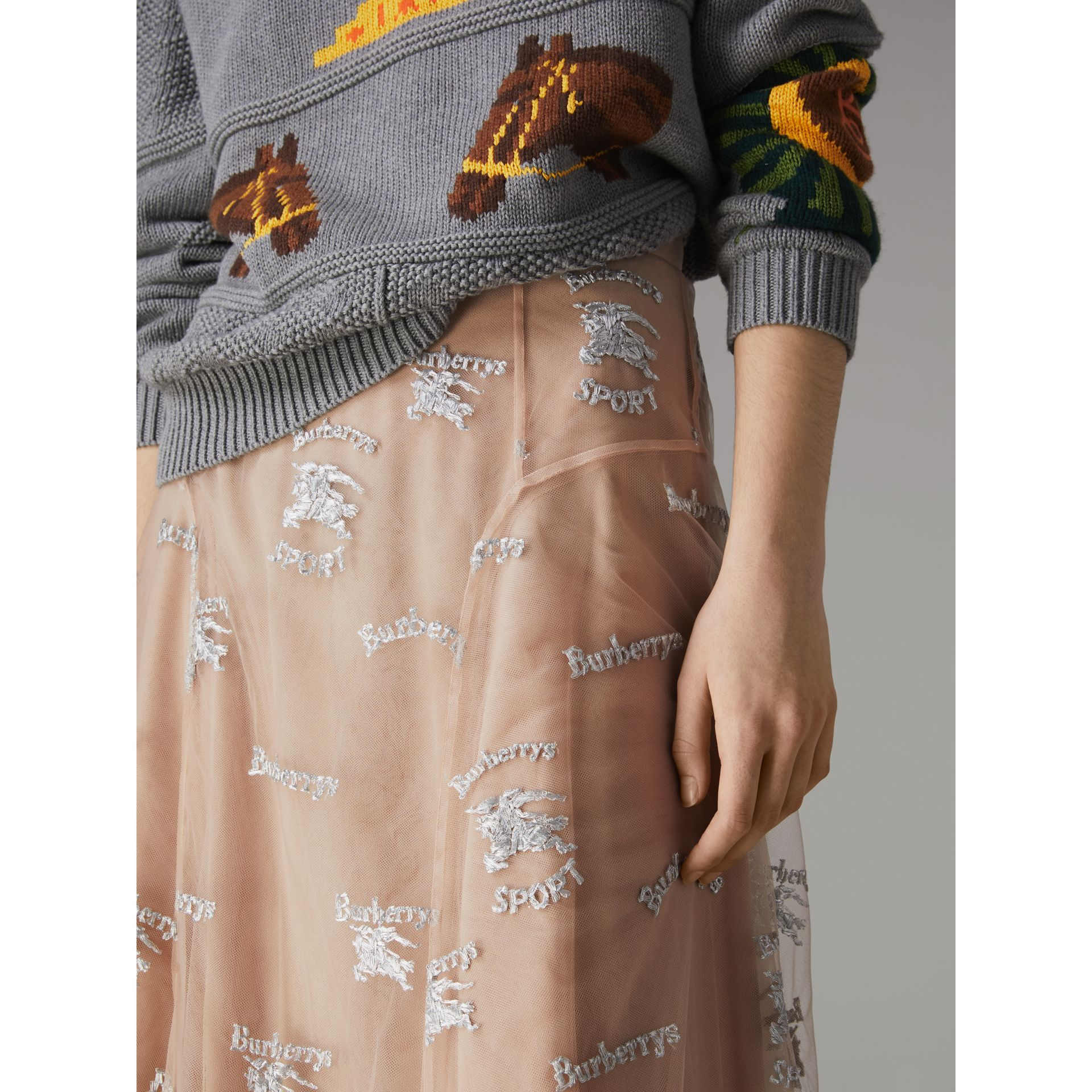 Equestrian Knight Embroidered Tulle Skirt in Nude/silver - Women | Burberry United Kingdom - gallery image 1