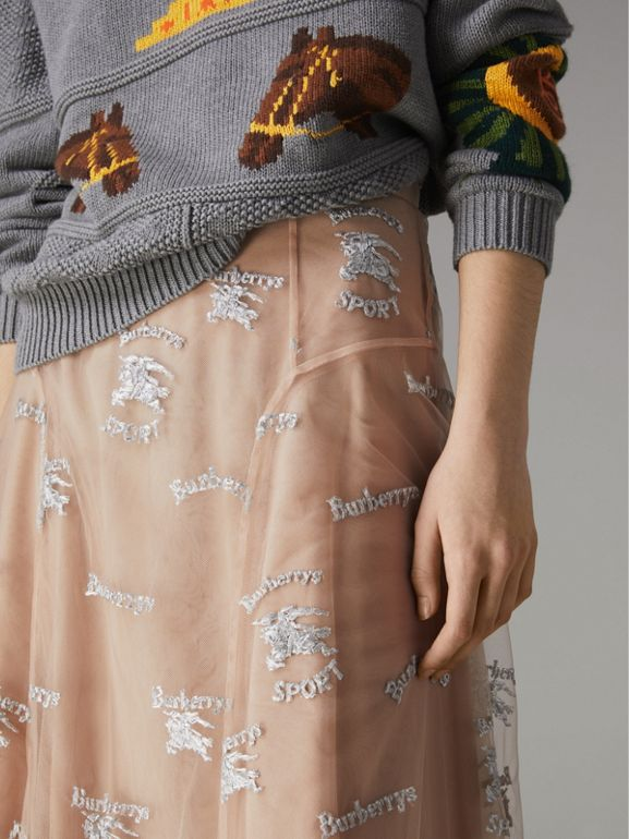 Equestrian Knight Embroidered Tulle Skirt in Nude/silver - Women | Burberry - cell image 1