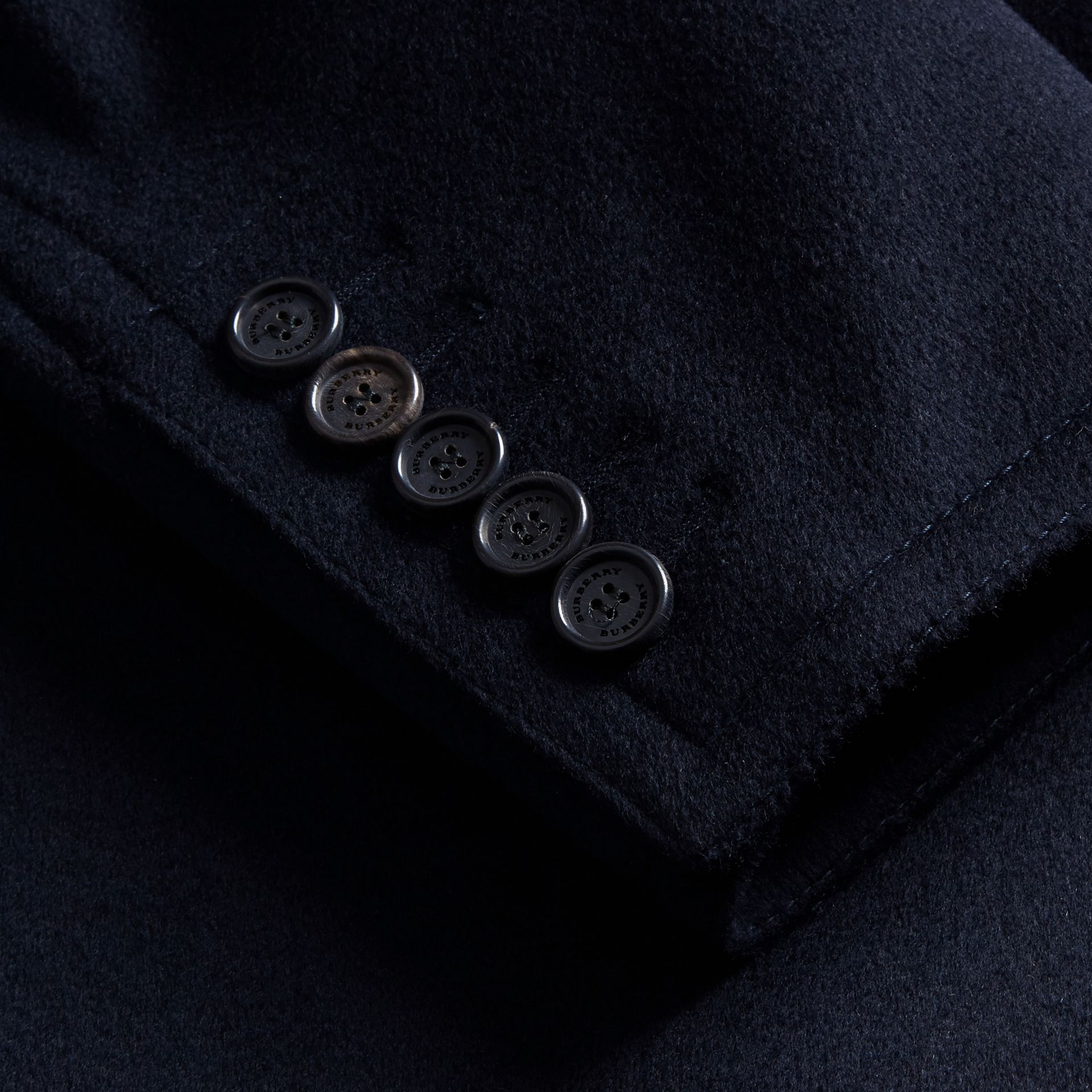 Wool Cashmere Pea Coat in Navy - gallery image 2