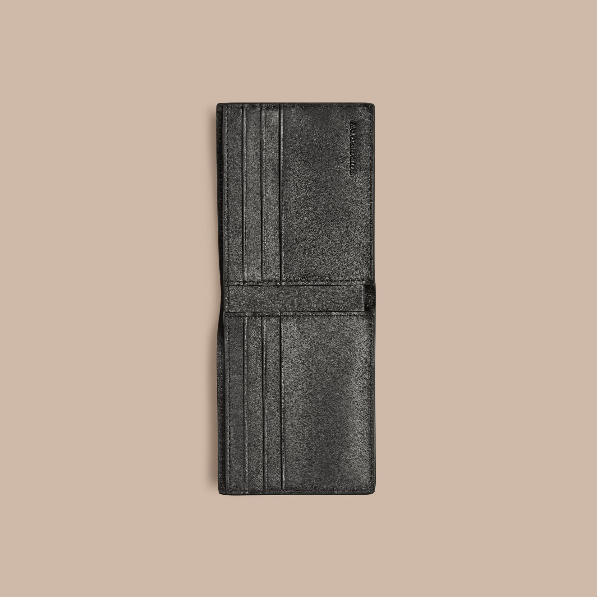 London Check and Leather Bifold Wallet Navy/black - gallery image 4