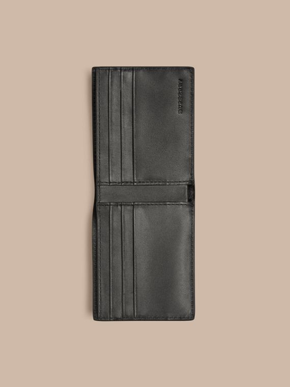 London Check and Leather Bifold Wallet Navy/black - cell image 3