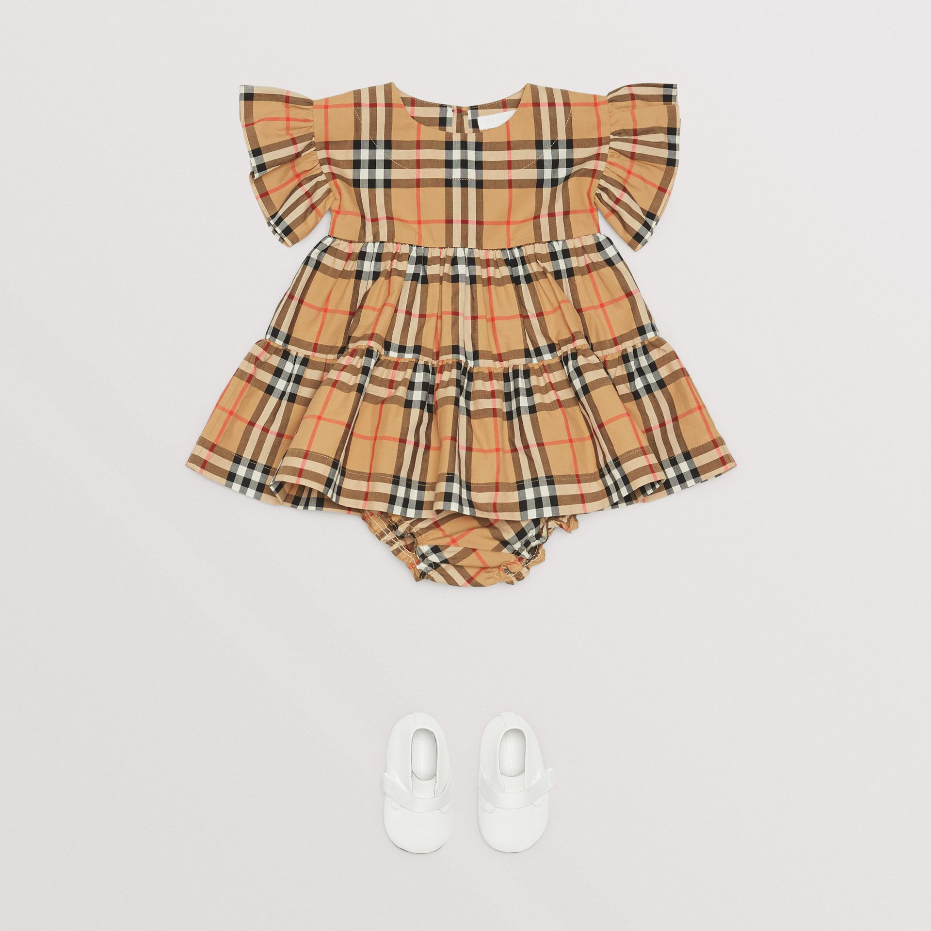 Ruffle Detail Vintage Check Dress with Bloomers in Antique Yellow - Children | Burberry - gallery image 1