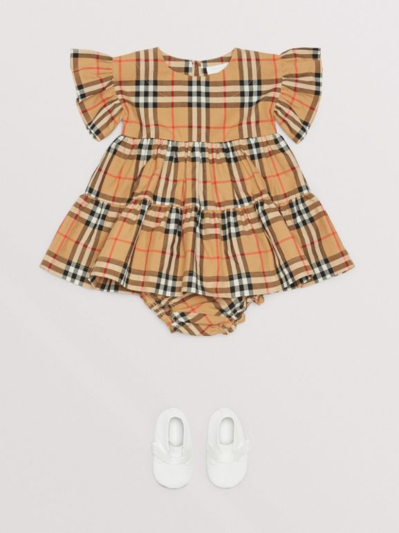 Ruffle Detail Vintage Check Dress with Bloomers in Antique Yellow - Children | Burberry - cell image 1