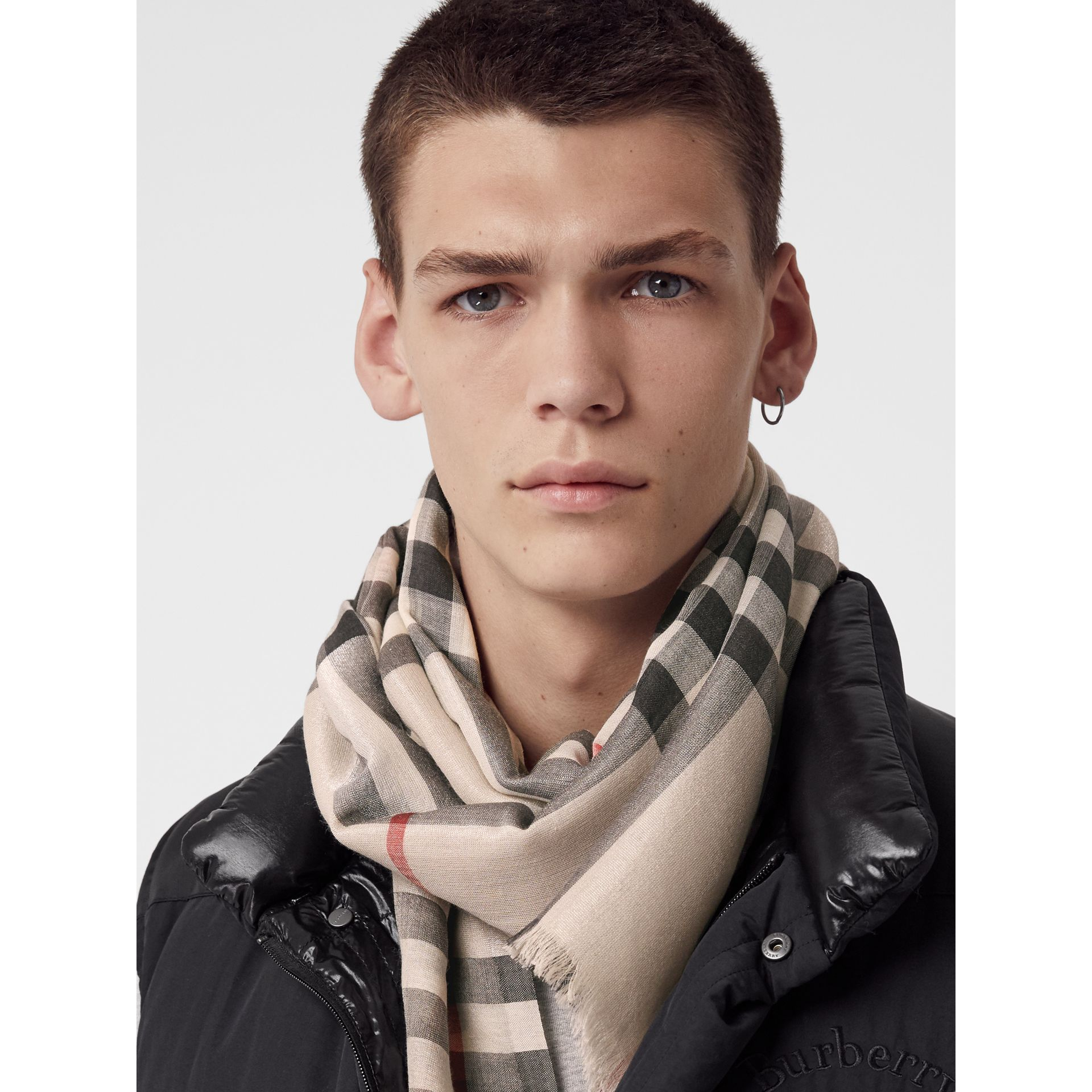 Metallic Check Silk and Wool Scarf in Stone/ Silver | Burberry United Kingdom - gallery image 6