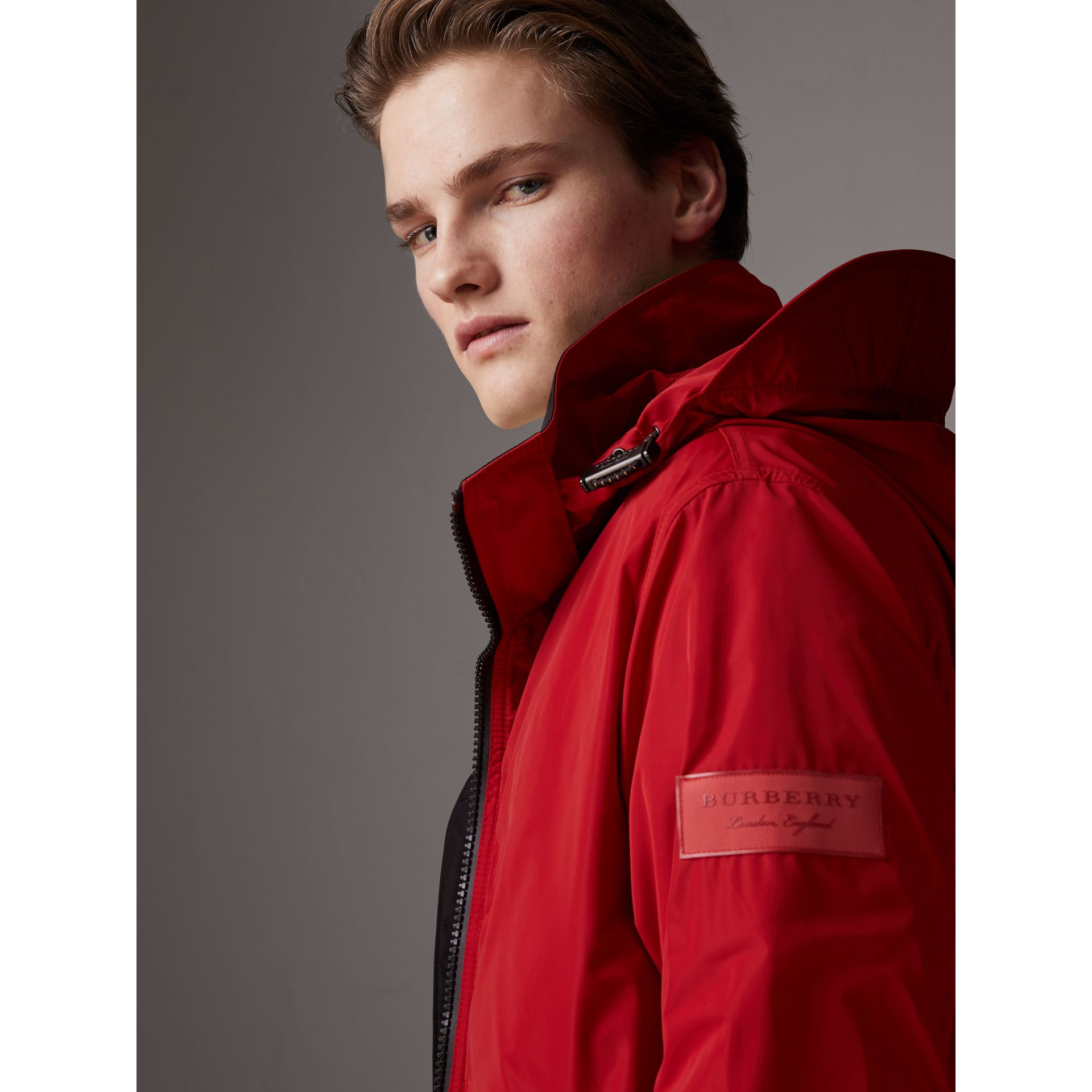 Packaway Hood Shape-memory Taffeta Jacket in Military Red | Burberry - gallery image 1