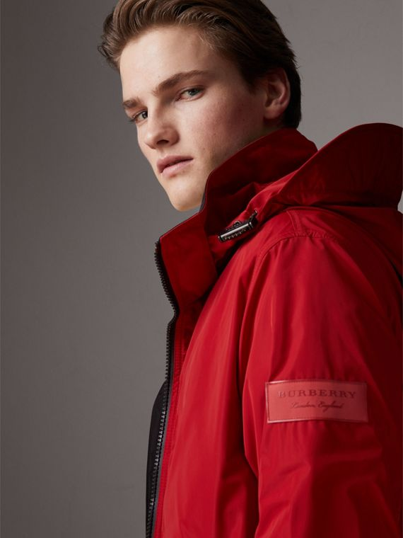 Packaway Hood Shape-memory Taffeta Jacket in Military Red