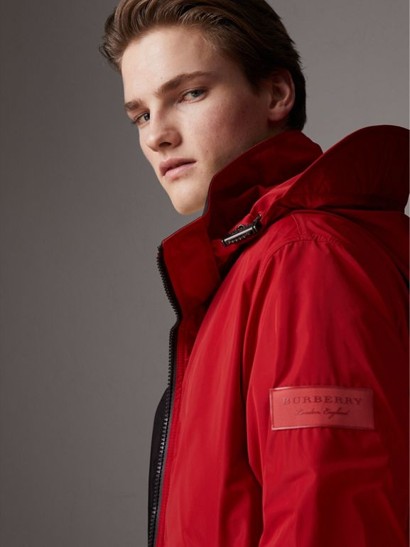 Packaway Hood Shape-memory Taffeta Jacket in Military Red | Burberry - cell image 1