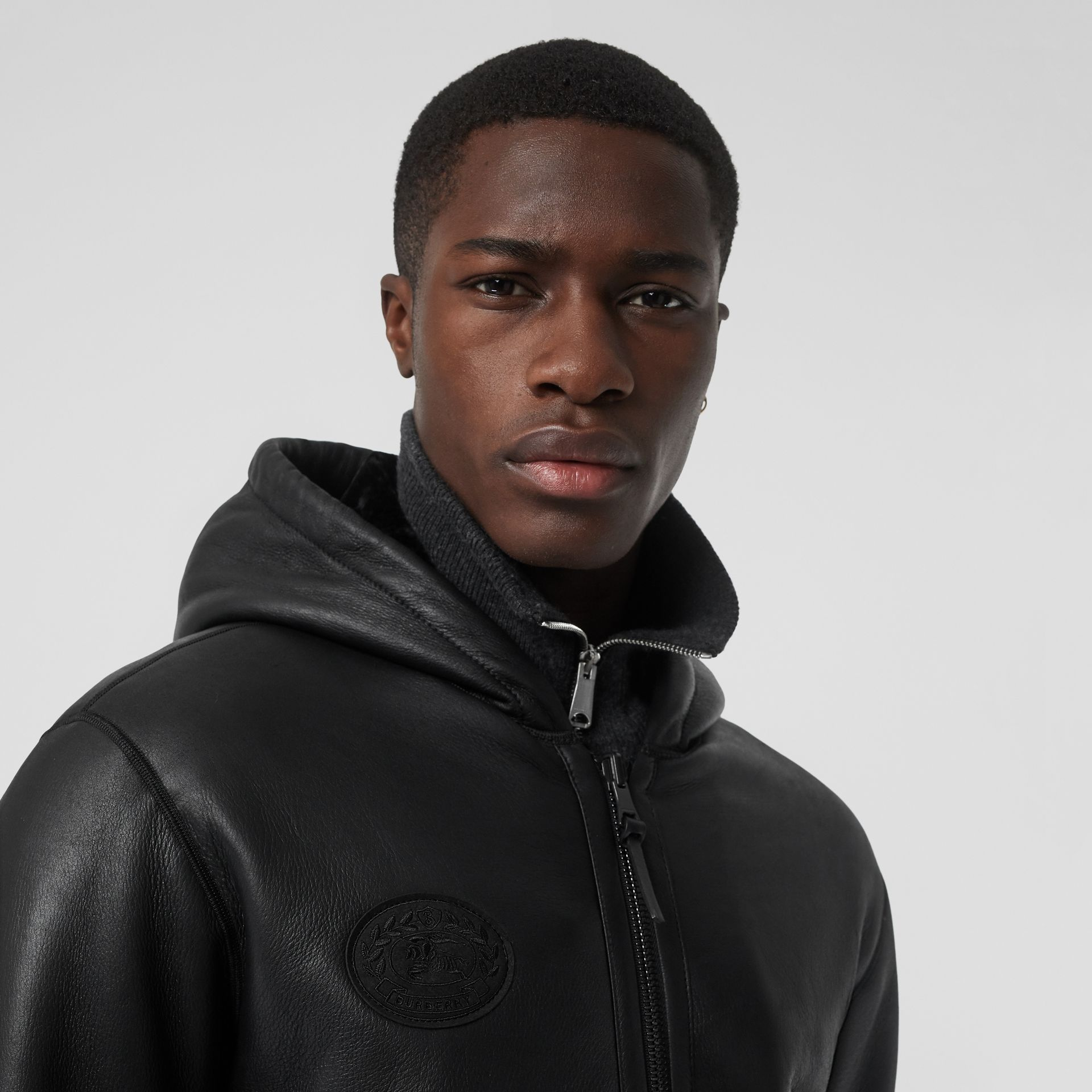 Reversible Shearling Hooded Bomber Jacket in Black - Men | Burberry United Kingdom - gallery image 4