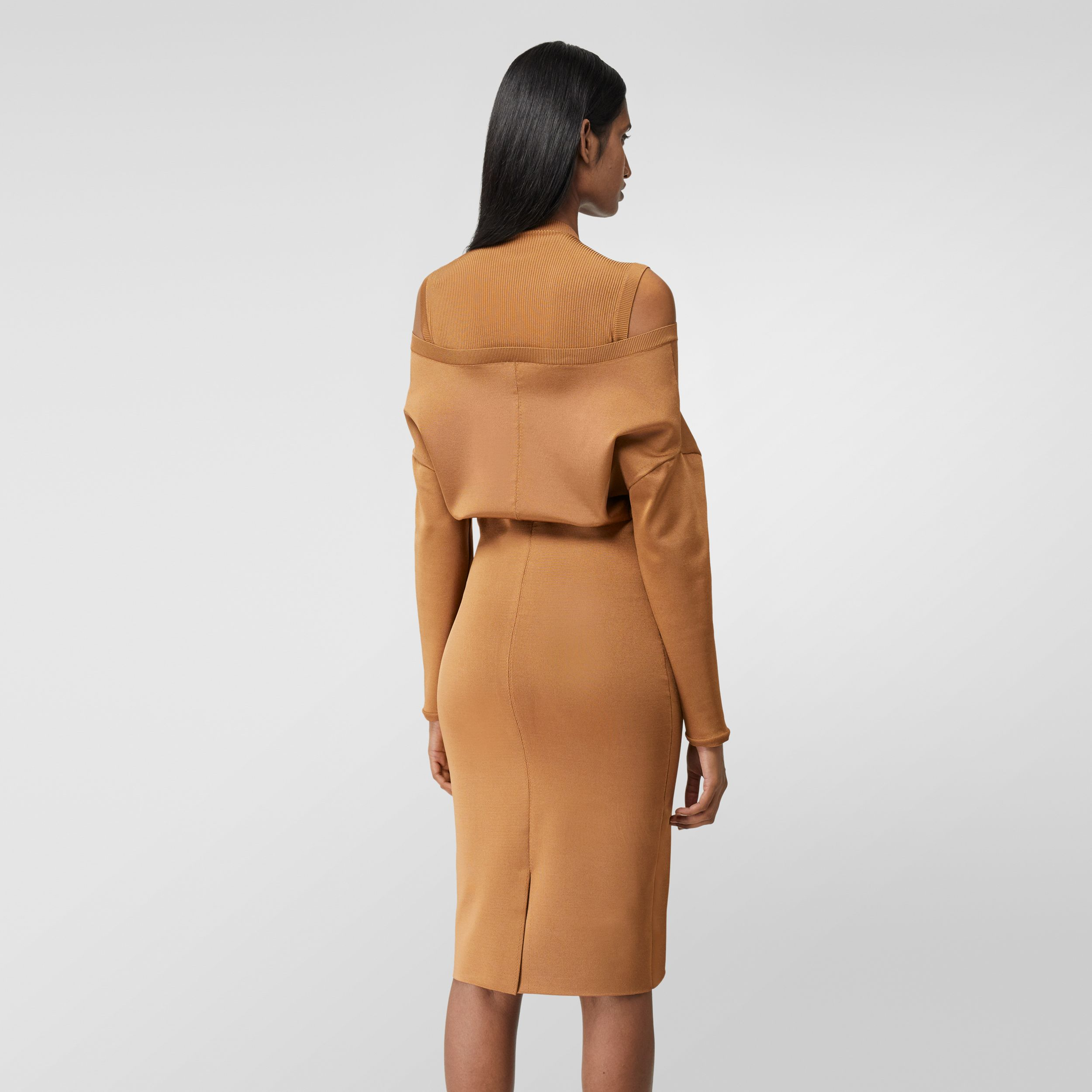 Long-sleeve Cut-out Detail Knitted Dress in Camel - Women | Burberry - 3