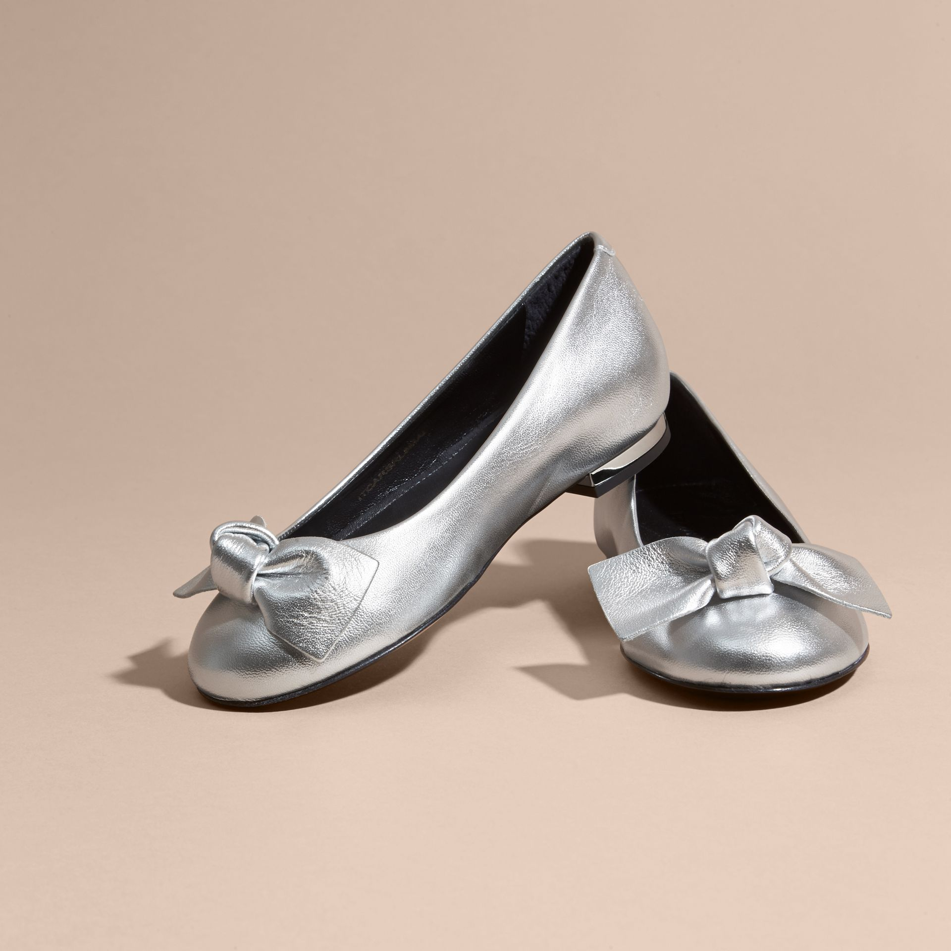 Silver Bow Detail Metallic Leather Ballerinas Silver - gallery image 3