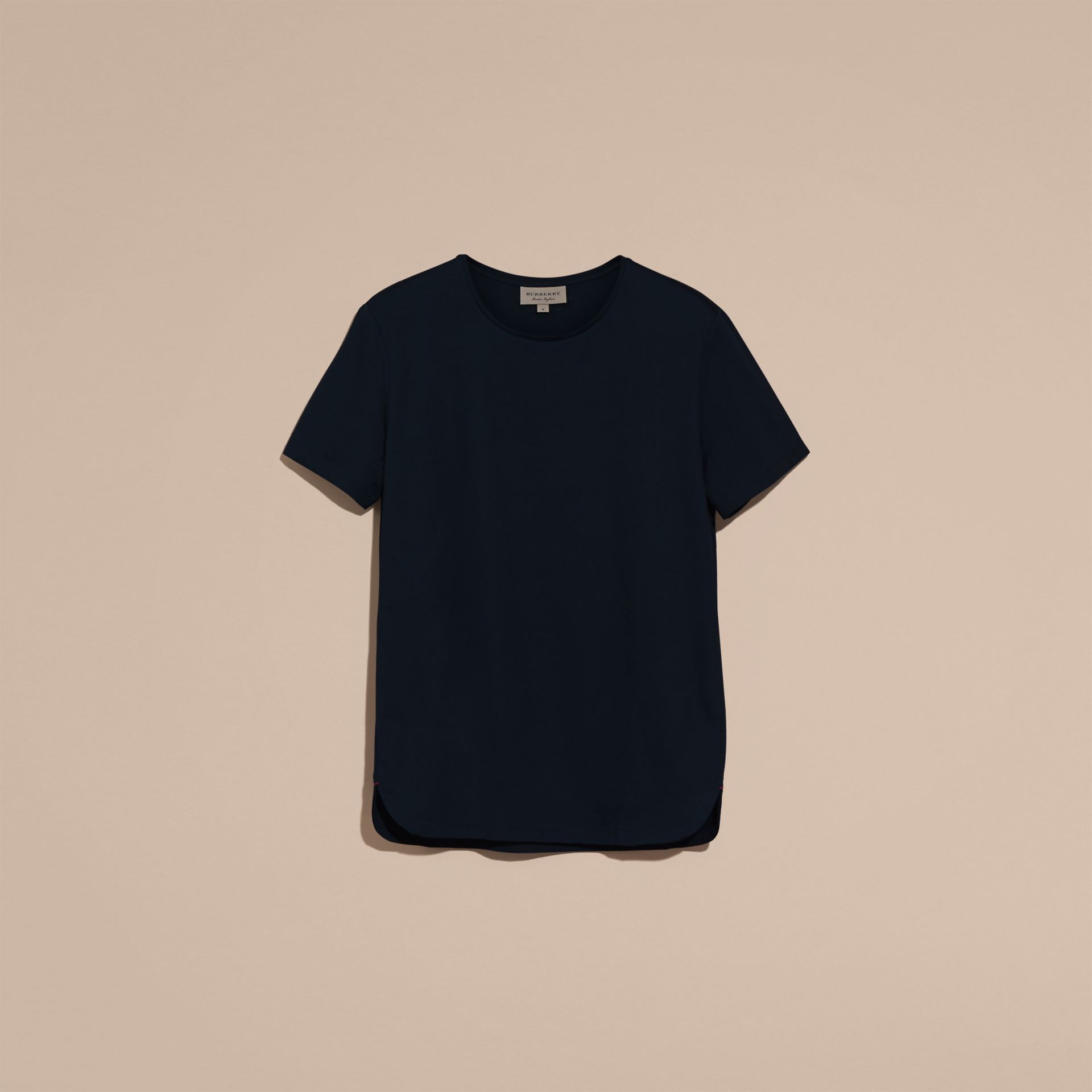 Crew Neck Cotton T-shirt in Navy - Men | Burberry - gallery image 4