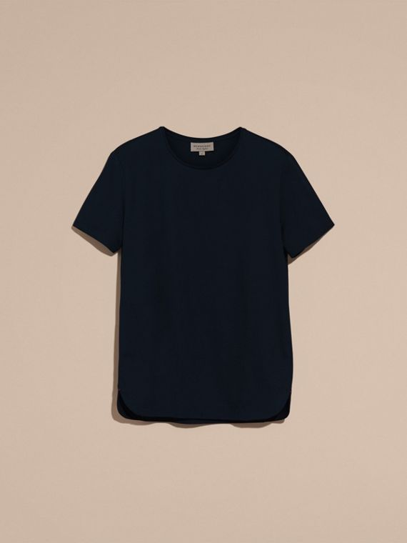 Crew Neck Cotton T-shirt Navy - cell image 3