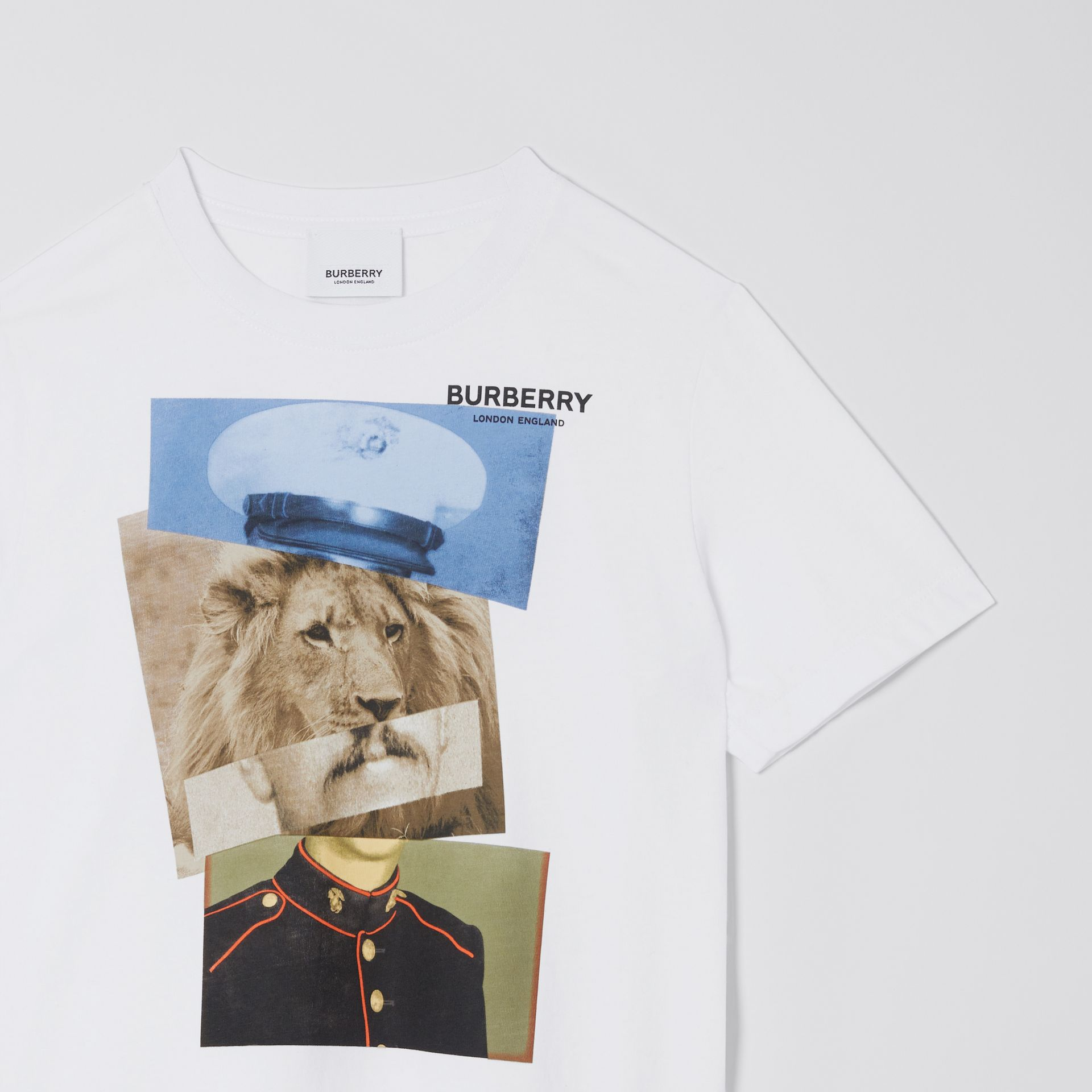 Collage Print Cotton T-shirt in White | Burberry - gallery image 6