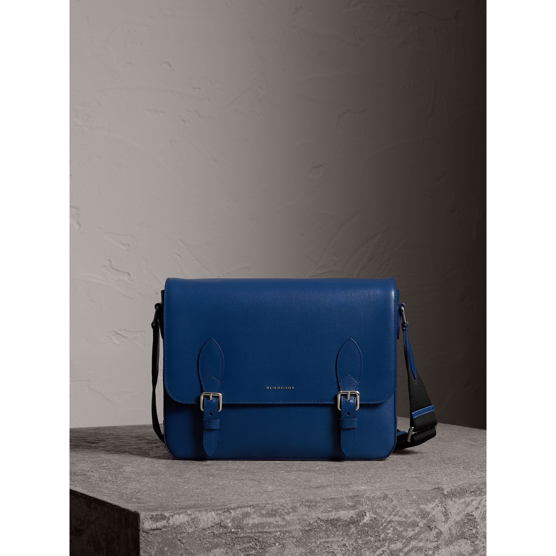 Medium London Leather Messenger Bag in Deep Blue - Men | Burberry Singapore - gallery image 1