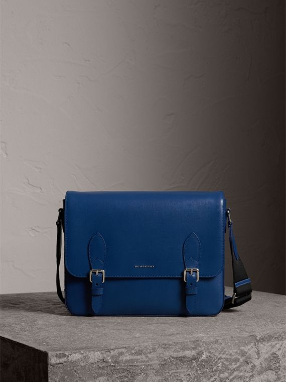 Borsa messenger media in pelle London (Blu Bruno)