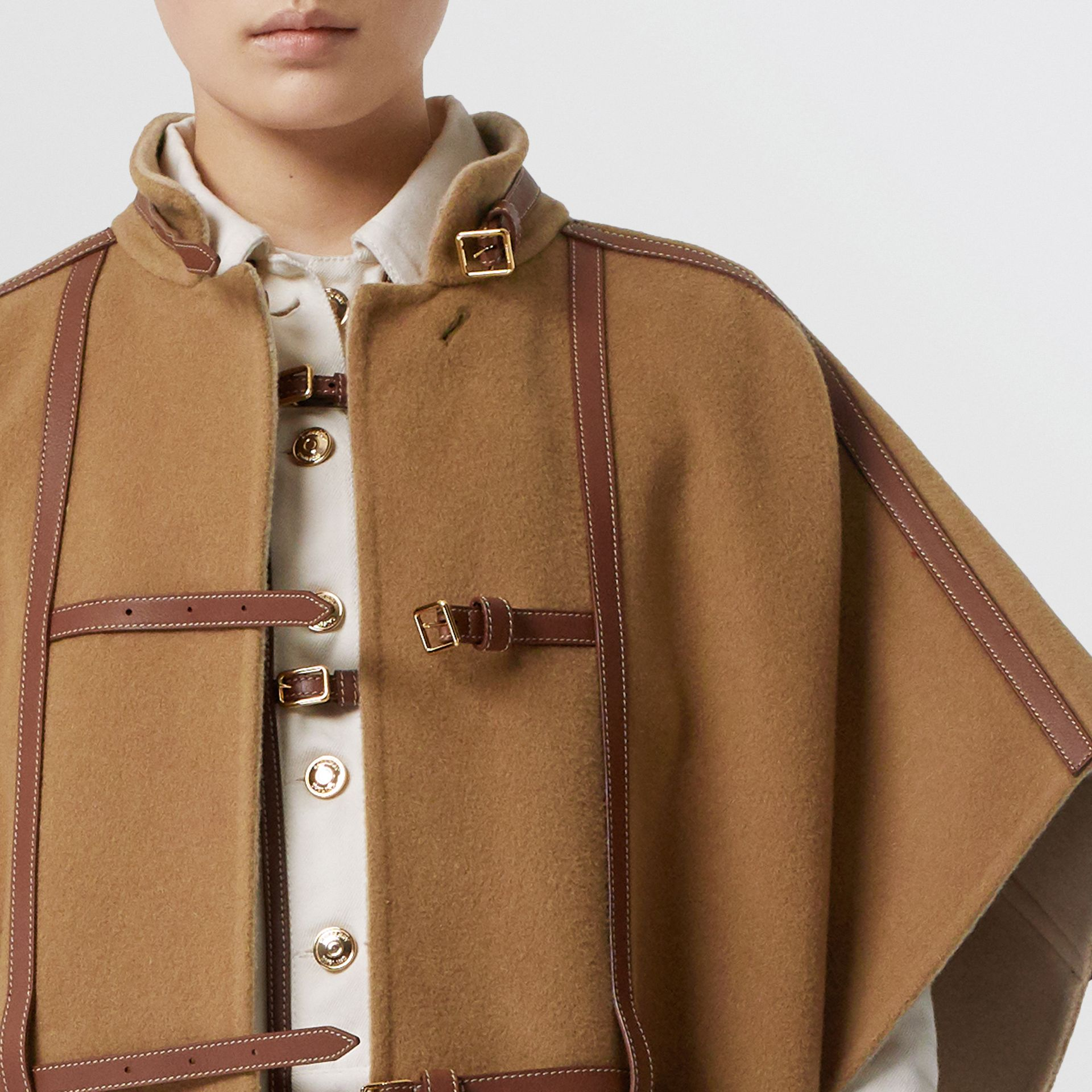 Leather Harness Detail Wool Blend Cape in Camel/honey - Women | Burberry - gallery image 5