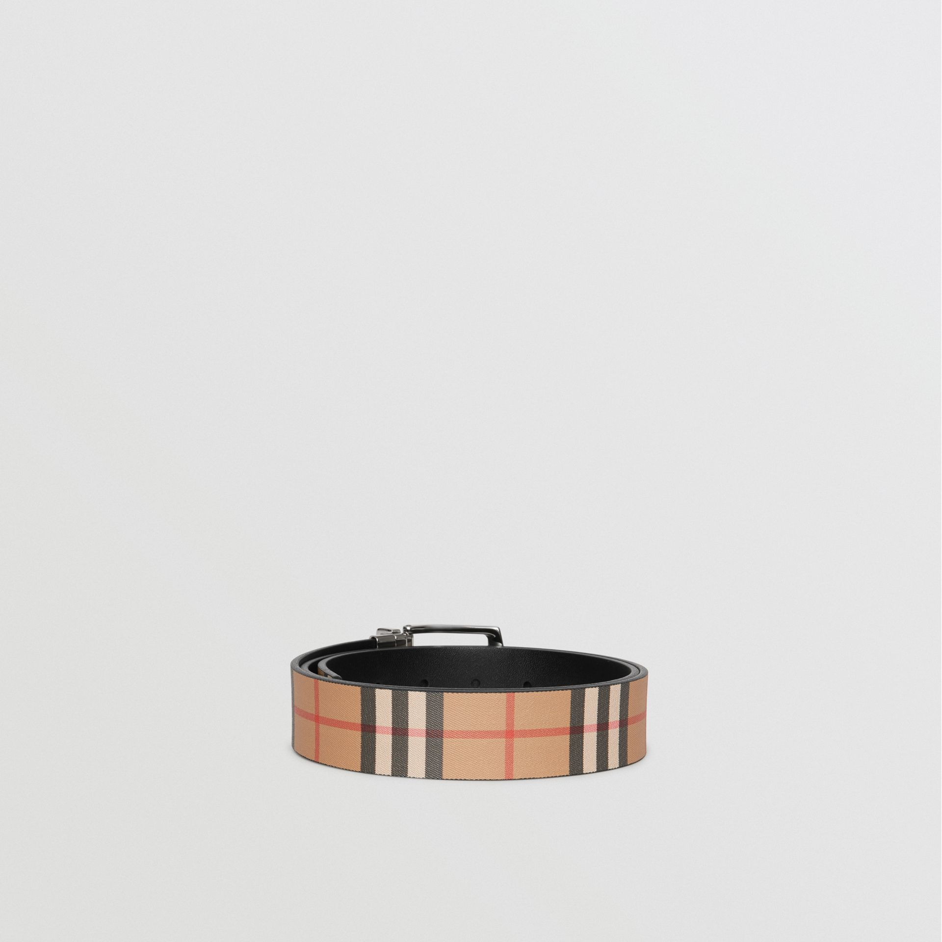 Reversible Vintage Check Leather Belt in Black - Men | Burberry United States - gallery image 5