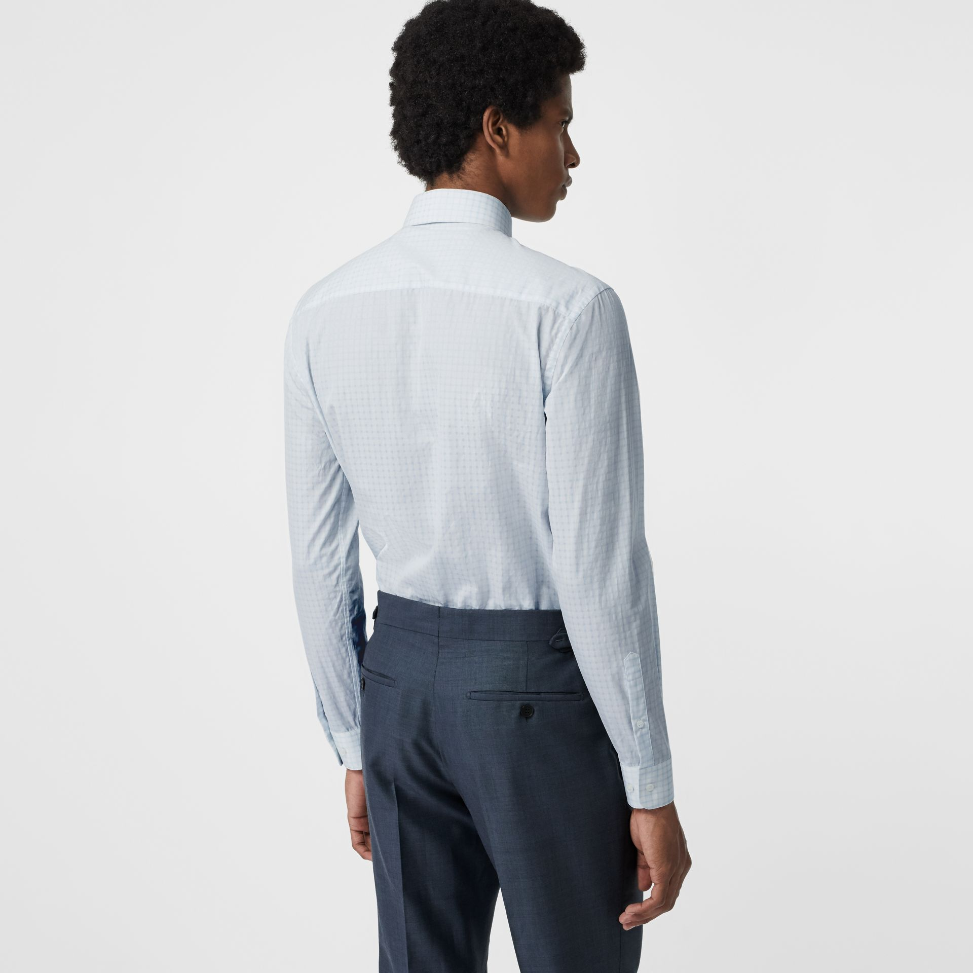 Slim Fit Check Cotton Poplin Shirt in City Blue - Men | Burberry - gallery image 2