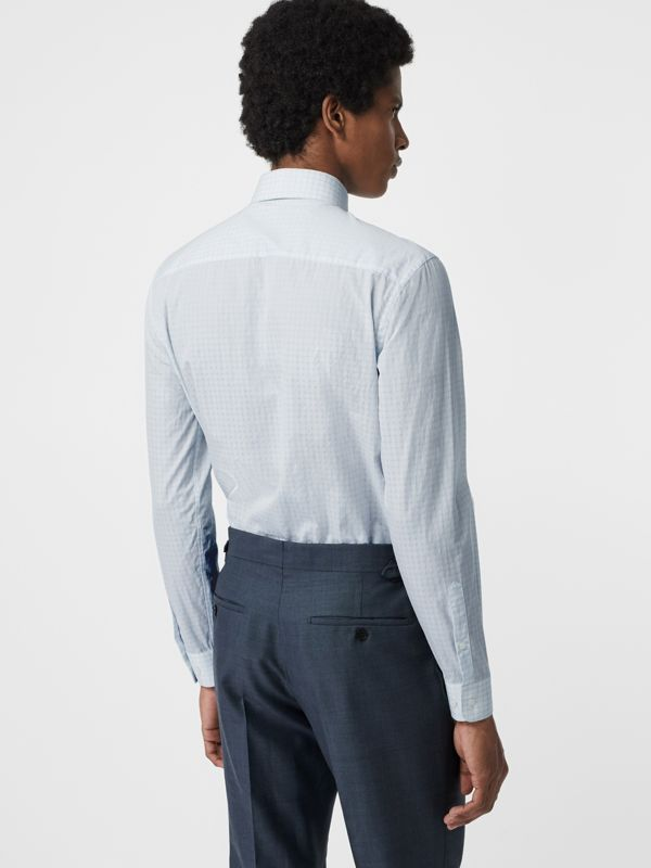 Slim Fit Check Cotton Poplin Shirt in City Blue - Men | Burberry - cell image 2
