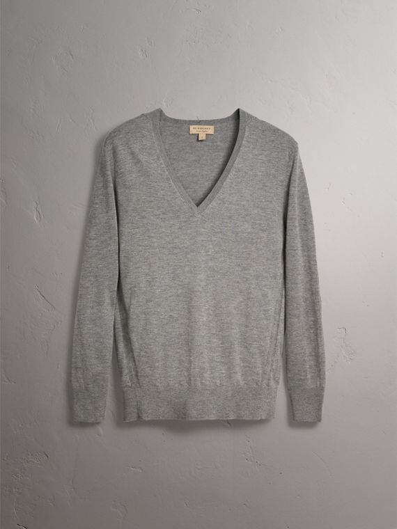 Check Detail Cashmere V-neck Sweater in Pale Grey Melange - Women | Burberry United Kingdom - cell image 3