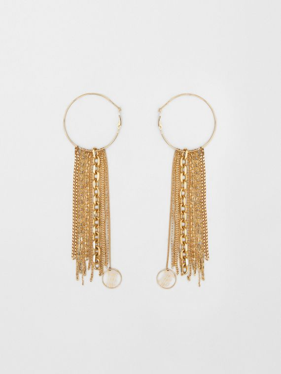 Chain Detail Gold-plated Hoop Earrings in Light