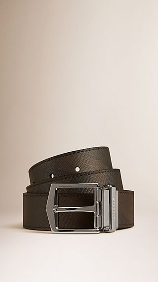 Reversible Smoked Check Leather Buckle Belt