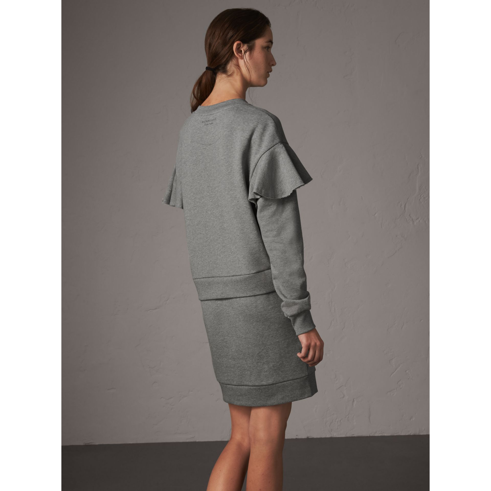 Ruffle-sleeve Cotton Sweater Dress in Pale Grey Melange - Women | Burberry United States - gallery image 3