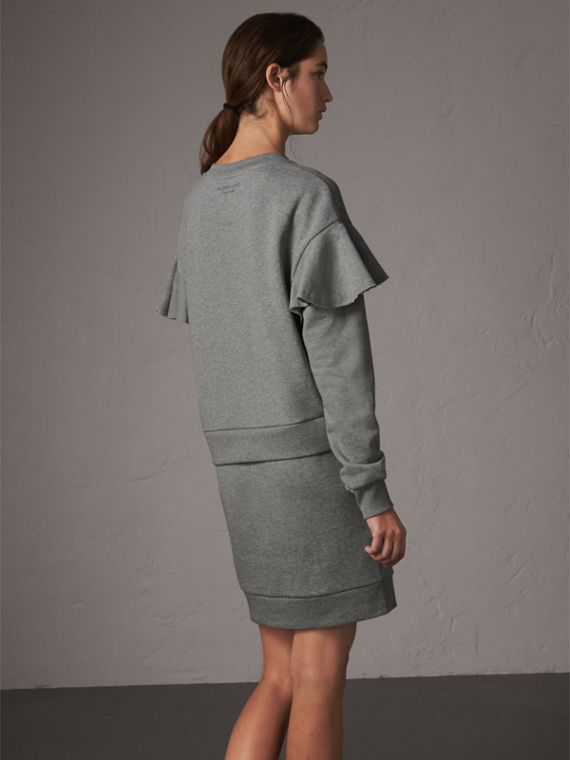 Ruffle-sleeve Cotton Sweater Dress in Pale Grey Melange - Women | Burberry - cell image 2