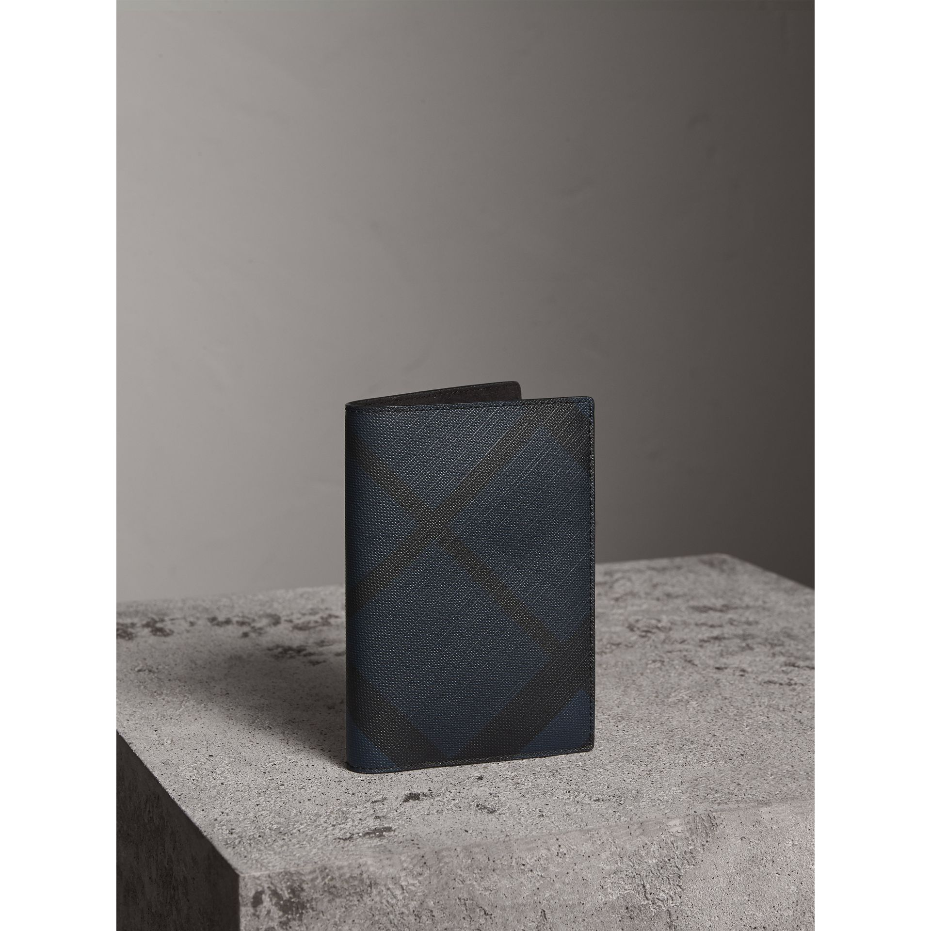 London Check and Leather Passport Holder in Navy/black - Men | Burberry Canada - gallery image 1