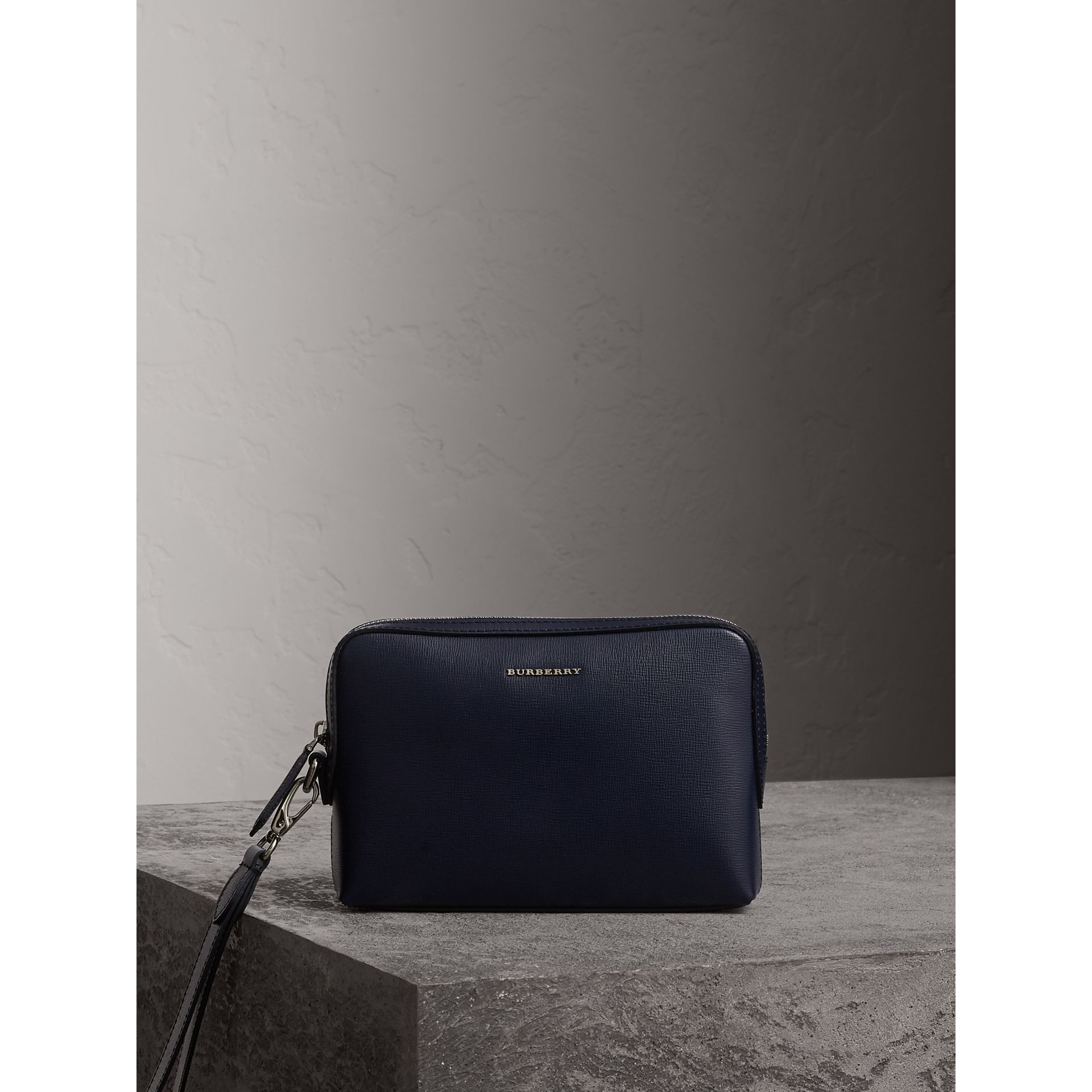 London Leather Pouch in Dark Navy - Men | Burberry - gallery image 1