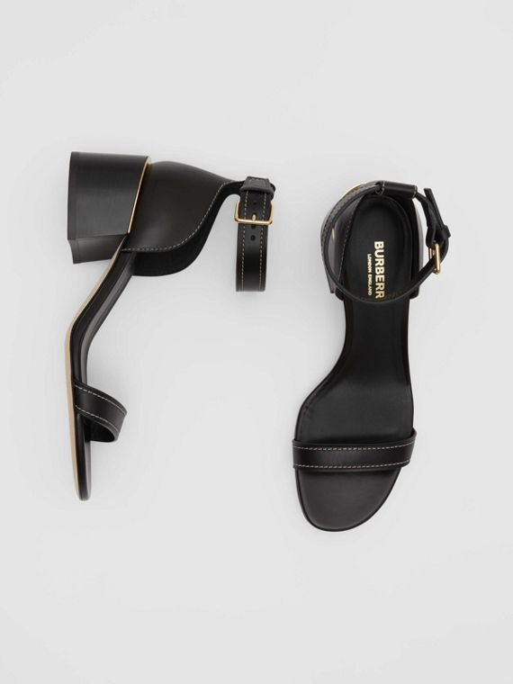 Gold-plated Detail Leather Block-heel Sandals in Black