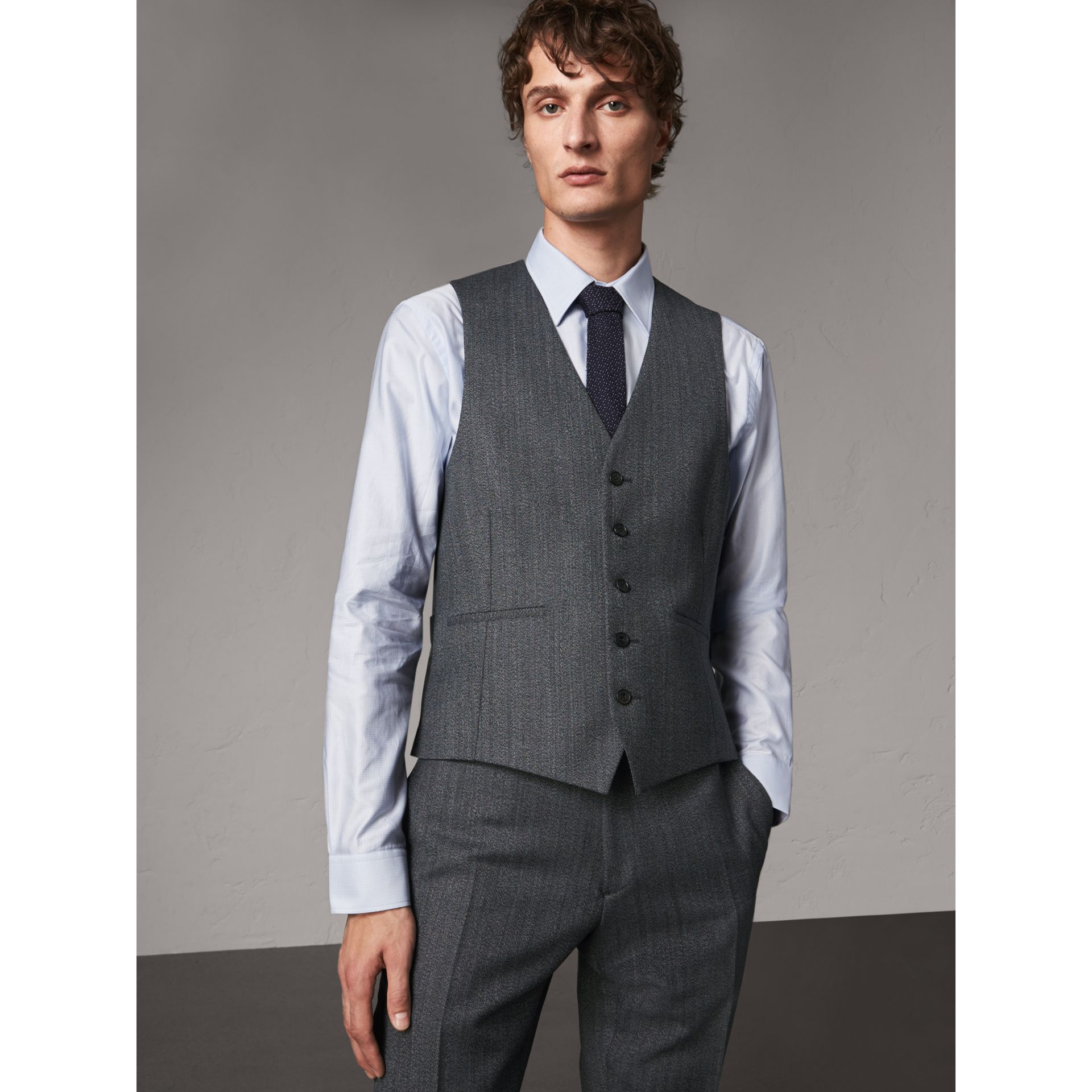 Modern Fit Wool Part-canvas Three-piece Suit in Charcoal - Men | Burberry Singapore - gallery image 8