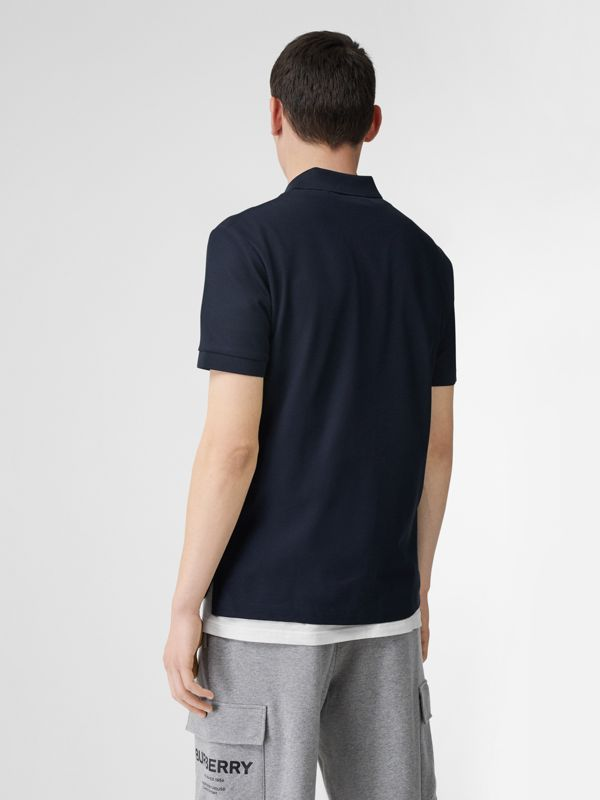 Monogram Motif Cotton Piqué Polo Shirt in Navy - Men | Burberry Canada - cell image 2