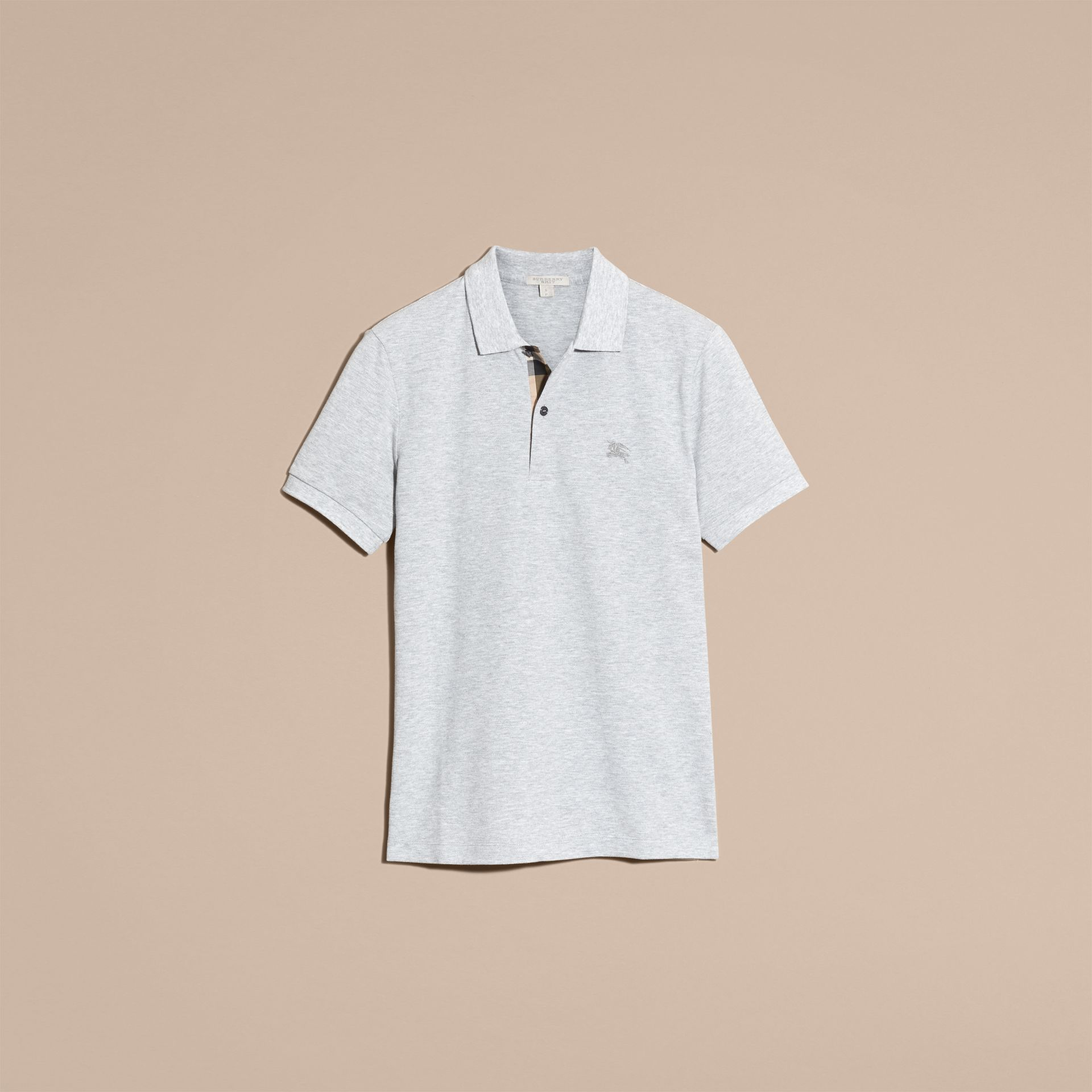 Pale grey melange Check Placket Cotton Piqué Polo Shirt Pale Grey Melange - gallery image 5