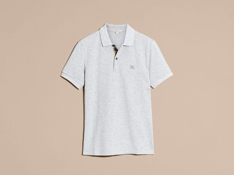 Pale grey melange Check Placket Cotton Piqué Polo Shirt Pale Grey Melange - cell image 4