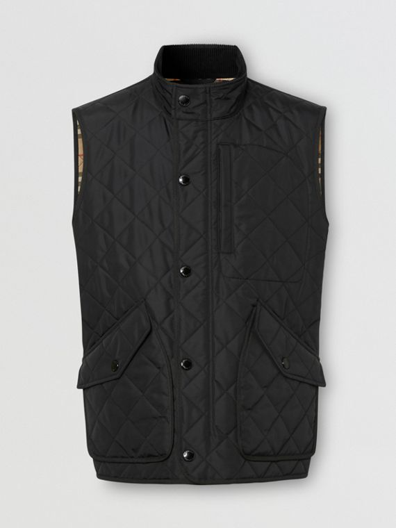 Diamond Quilted Thermoregulated Gilet in Black