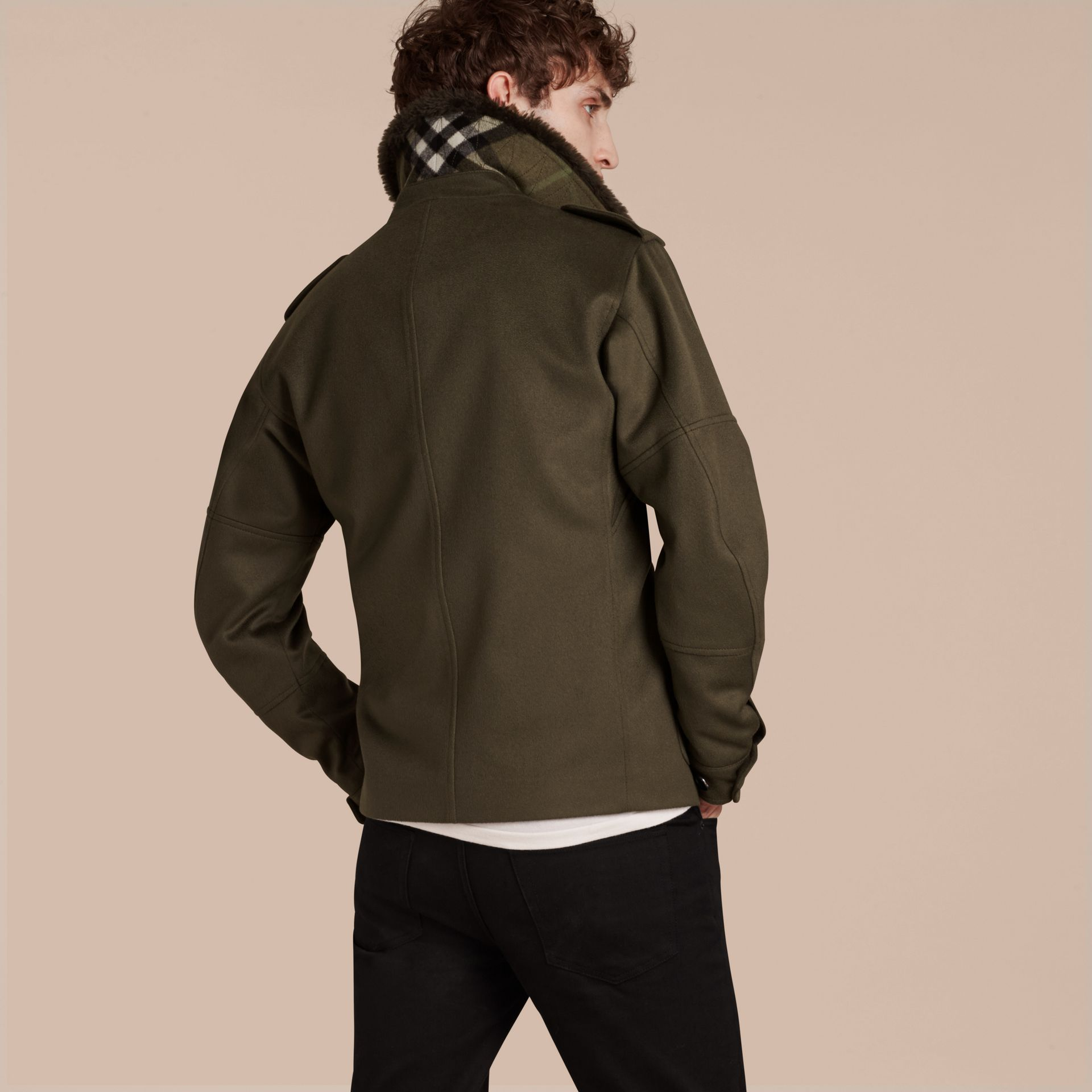Dark green Shearling Topcollar Cashmere Field Jacket - gallery image 3