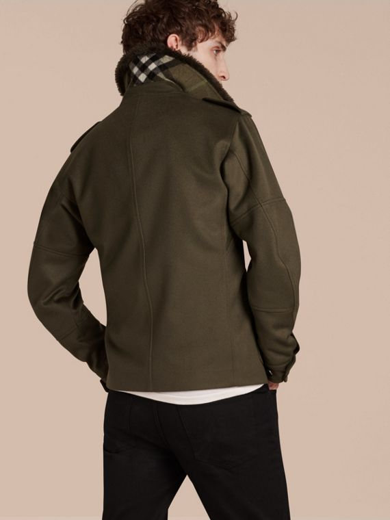 Dark green Shearling Topcollar Cashmere Field Jacket - cell image 2
