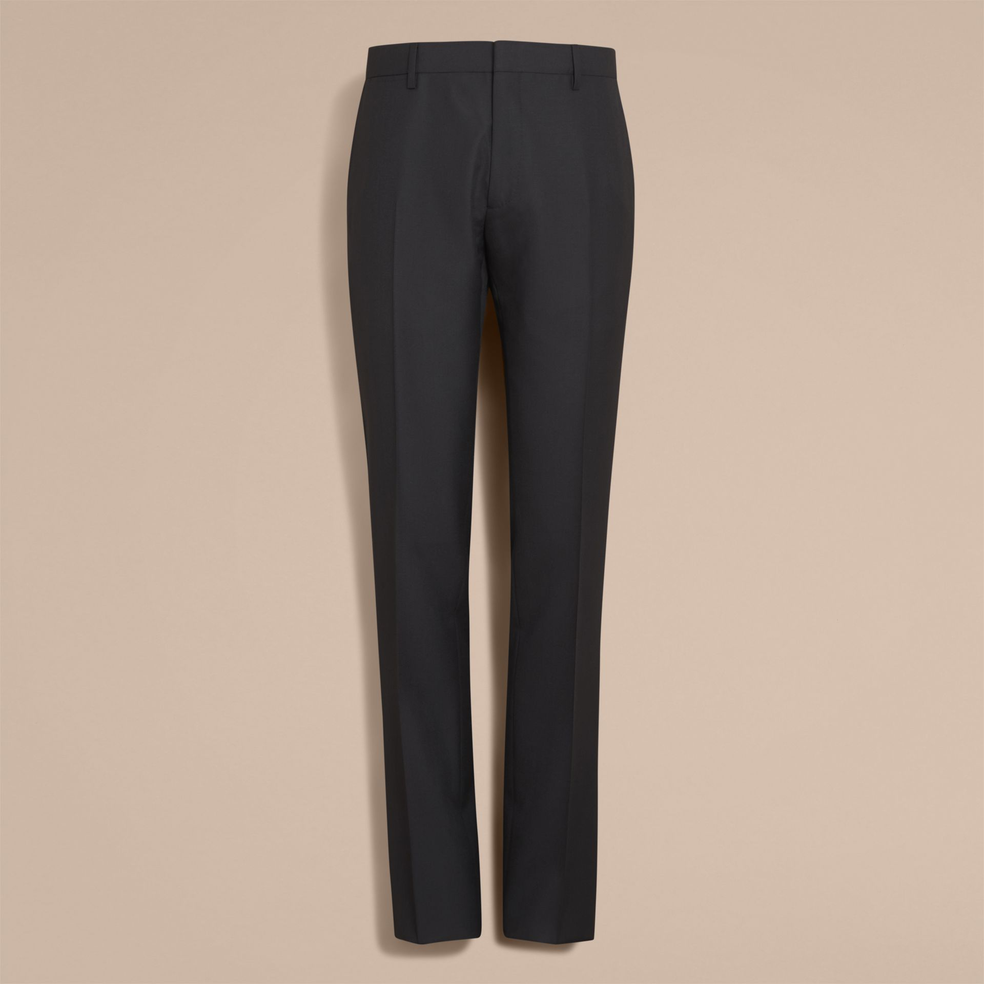 Modern Fit Wool Trousers in Black - Men | Burberry - gallery image 7
