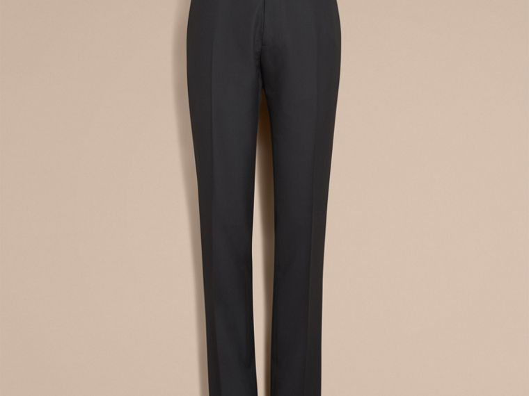 Modern Fit Wool Trousers in Black - cell image 4