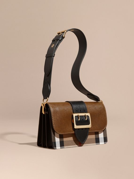 The Medium Buckle Bag in House Check and Textured Leather Tan/black