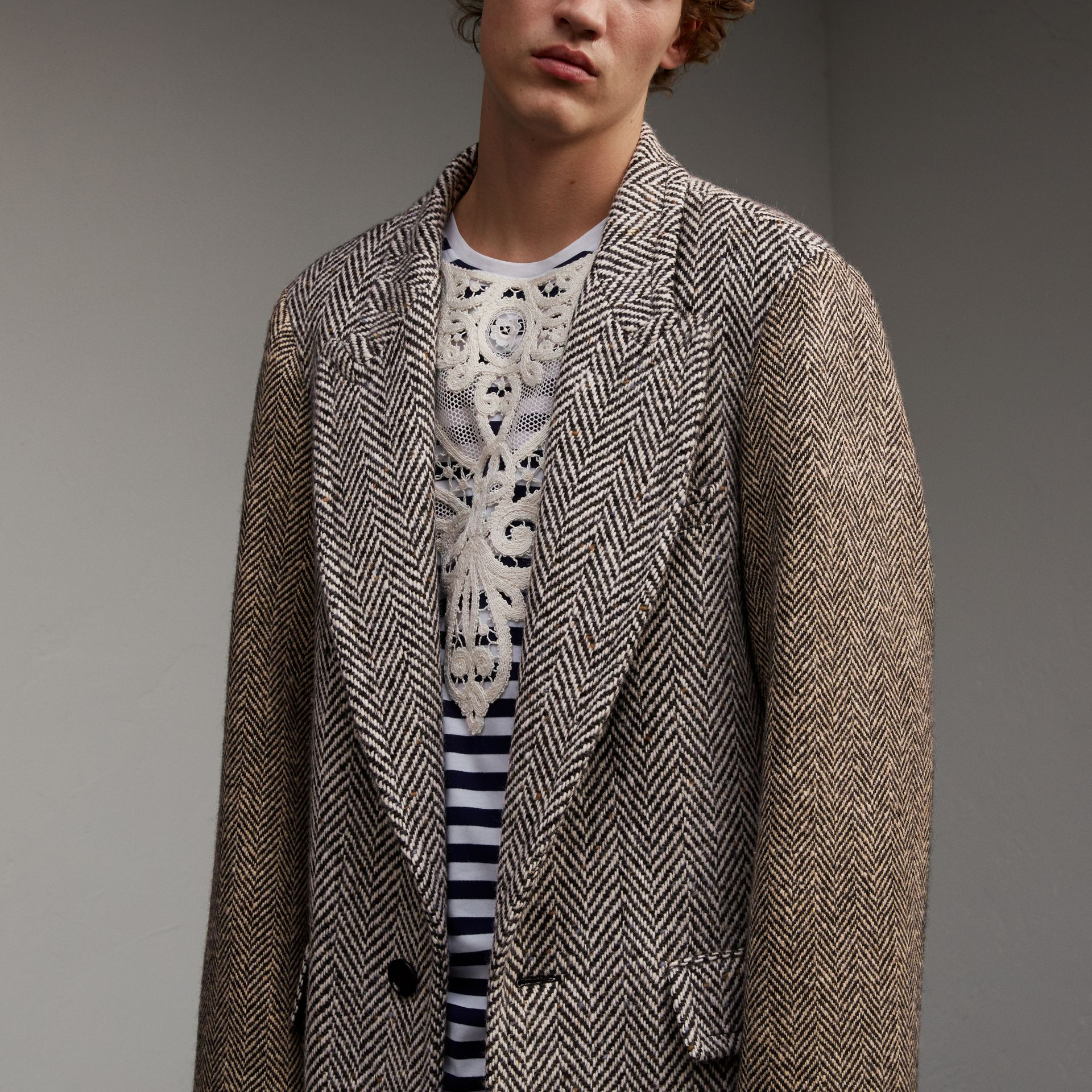 Donegal Herringbone Wool Tweed Chesterfield - Men | Burberry - gallery image 5