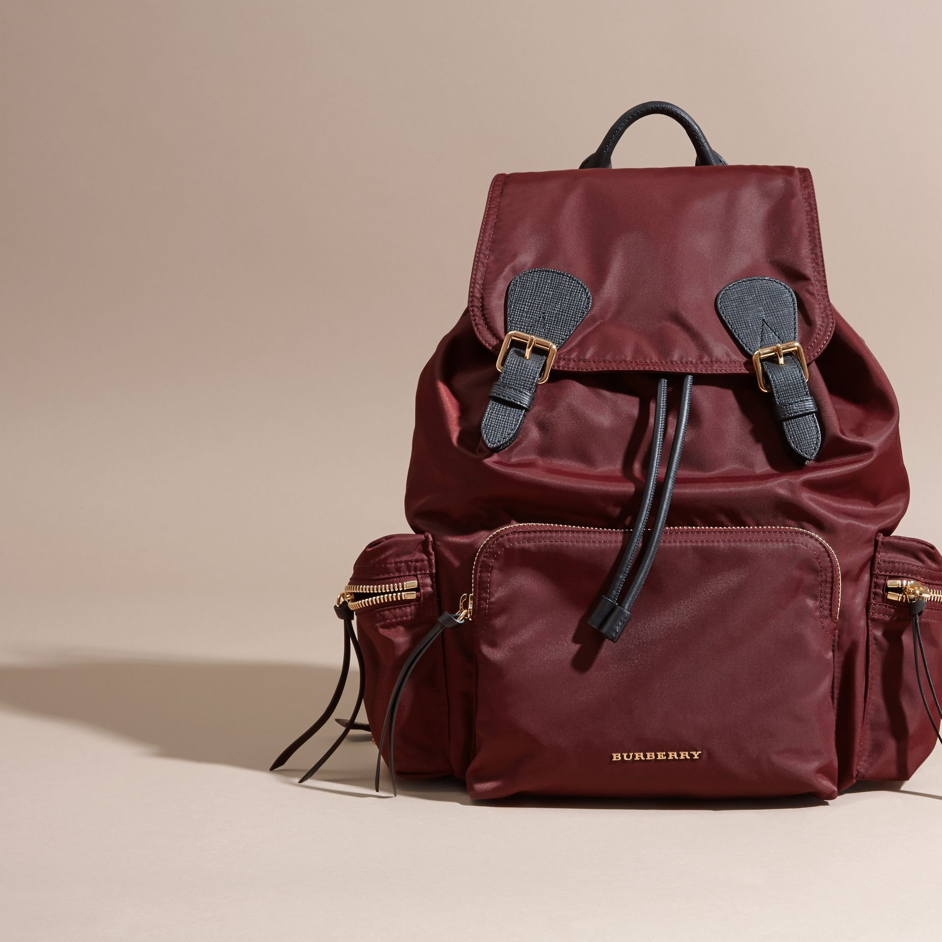 Burgundy red The Large Rucksack in Technical Nylon and Leather Burgundy Red - gallery image 8