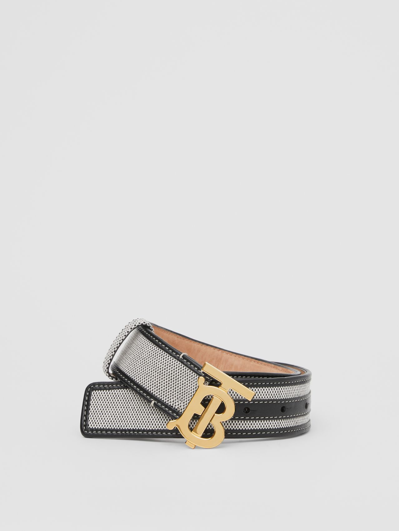 Monogram Motif Canvas and Leather Belt in Black