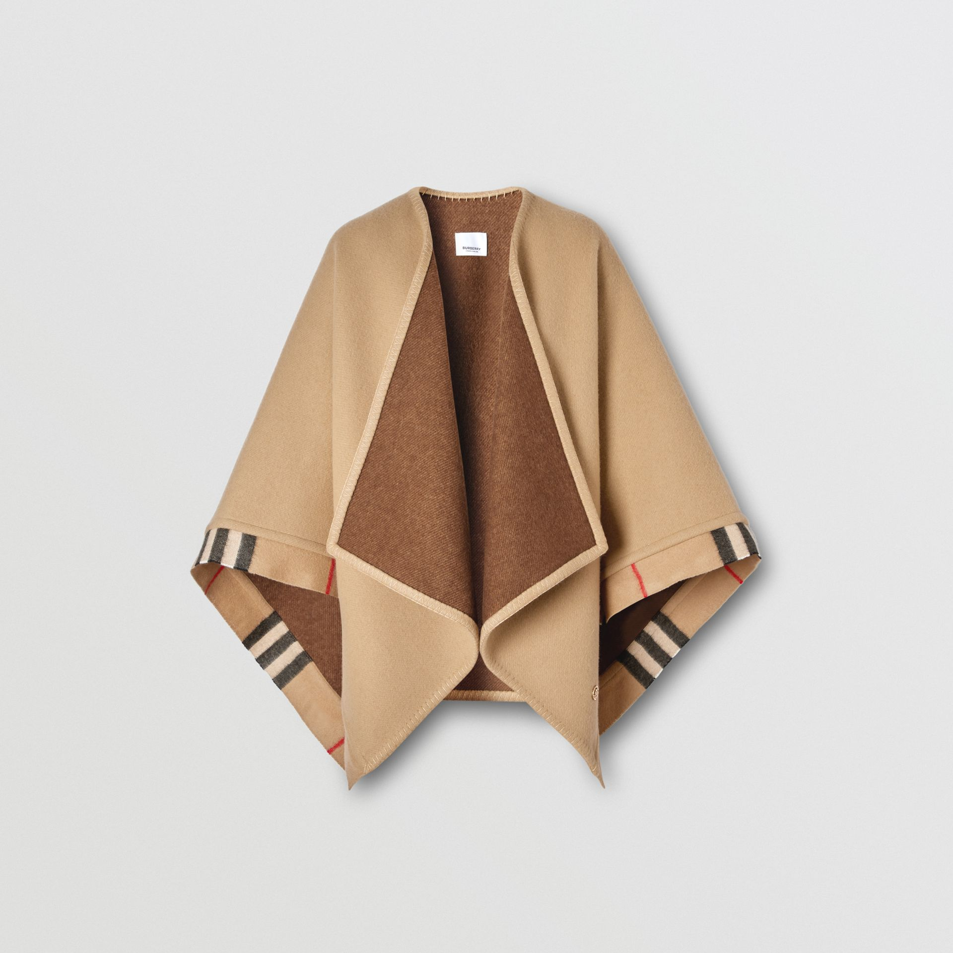 Check Trim Wool Cashmere Cape in Archive Beige - Women | Burberry - gallery image 3
