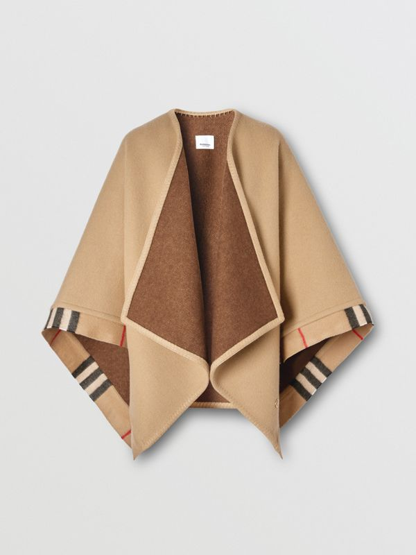 Check Trim Wool Cashmere Cape in Archive Beige - Women | Burberry - cell image 3