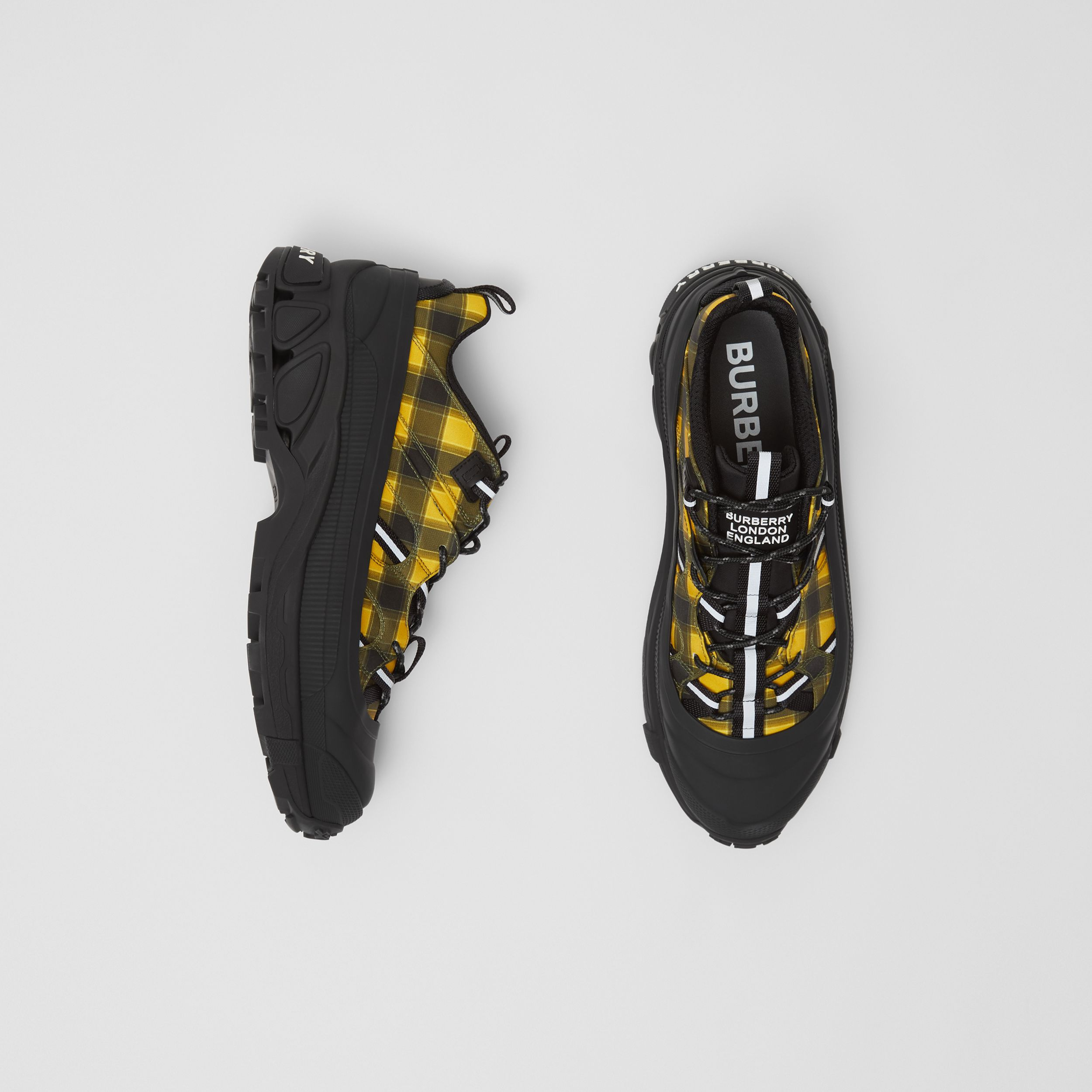 Check Technical Arthur Sneakers in Yellow | Burberry - 1